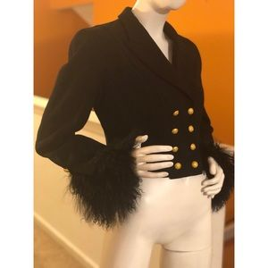 Vintage Escada Mongolian double breasted blazer